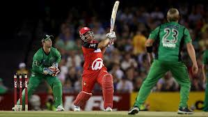 Aaron FInch bats against the Melbourne Stars (sourced from The Australian)