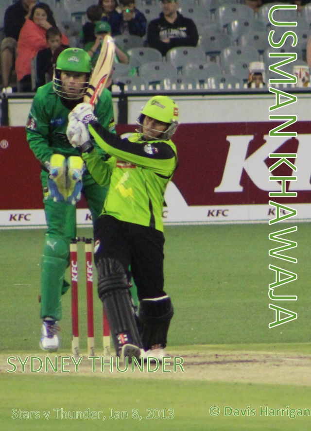 Usman Khawaja, for the Sydney Thunder, 8 Jan 2013 (photo mine)