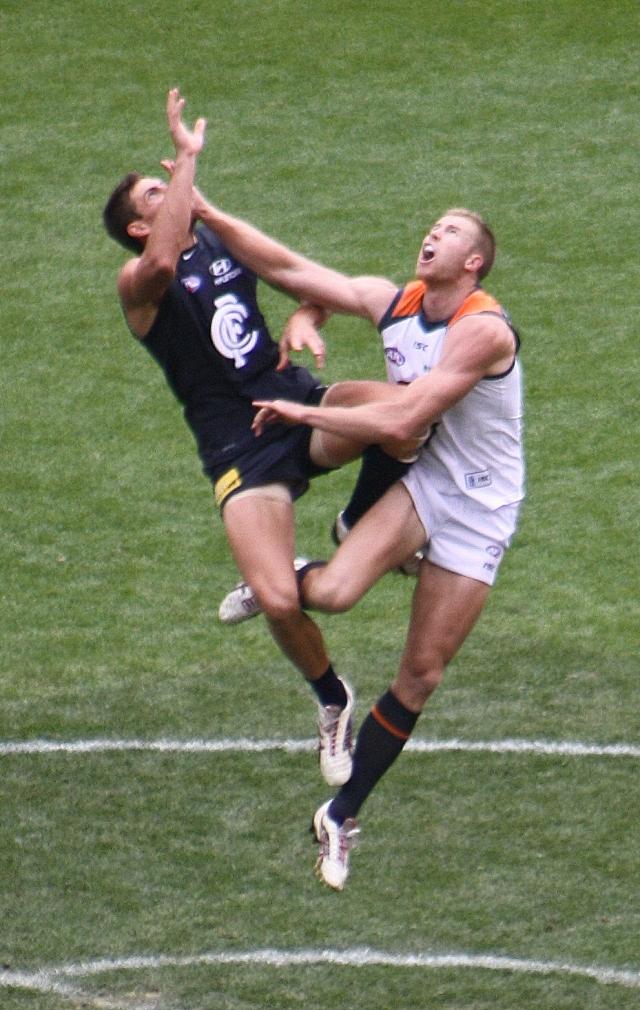 GWS and Carlton ruckmen head to head, 2012 AFL Season (photo mine)