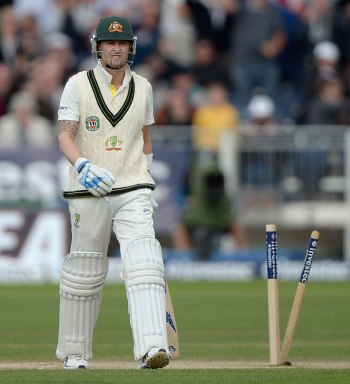 Michael Clarke walks off bowled by Stuart Broad (sourced from ESPN cricinfo)