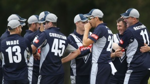 Victorian Bushrangers players celebrate after a wicket in the Ryobi Cup (photo: cricket.com.au)