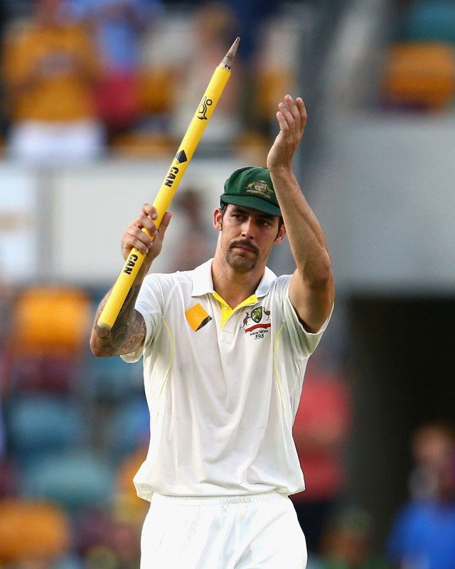 Mitchell Johnson celebrates 9 wickets at the Gabba (source: ESPN Cricinfo/Getty Images)