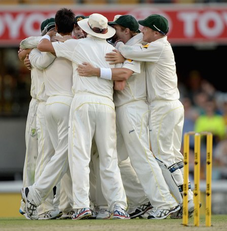 The Australians celebrate their first test victory (Source: ESPN Cricinfo/Getty Images)