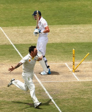 Mitchell Johnson celebrates  dismissing Stuart Broad on Day 3 @ Adelaide (ESPN Cricinfo/Getty Images)