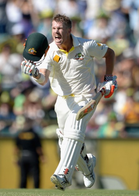 David Warner celebrates a stunning 100 at Perth (ESPN Cricinfo/Getty Images)