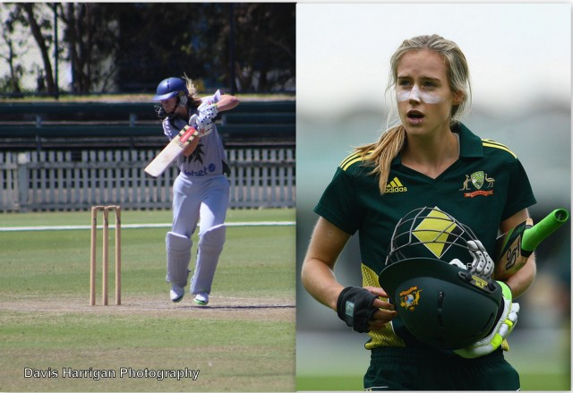 Meg Lanning playing for Box Hill & Ellyse Perry for Australia (left photo mine)