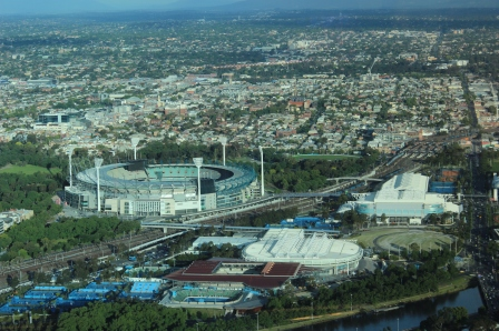 Melbourne's sporting precinct, November 2013 (photo mine)