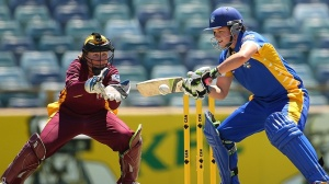 Kris Britt cuts away during her 33 (photo: Cricket Australia)