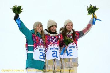 Torah Bright (left) with fellow Australian snowboarders
