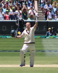 Chris Rogers celebrates a century on the MCG (photo: Davis Harrigan)