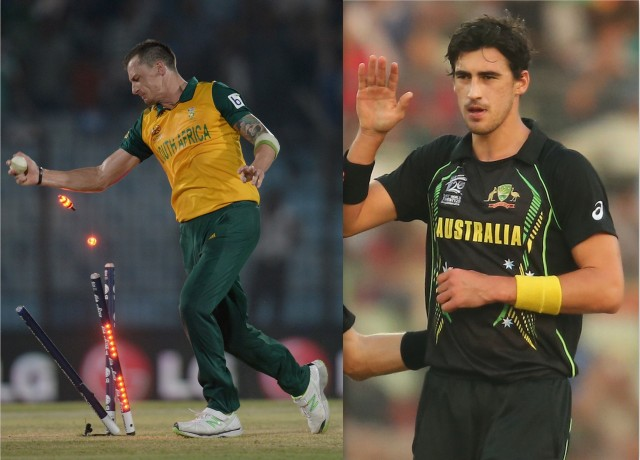 Dale Steyn v Mitchell Starc (photos: Getty Images)