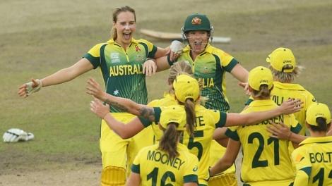 Australia's cricketers celebrate their WT20 triumph (photo: Cricket Australia)