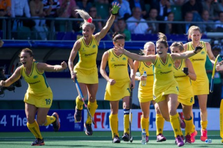 The picture says it all; the Hockeyroos are jubilant as they head into the final. (Pic: The Fans of Hockey)