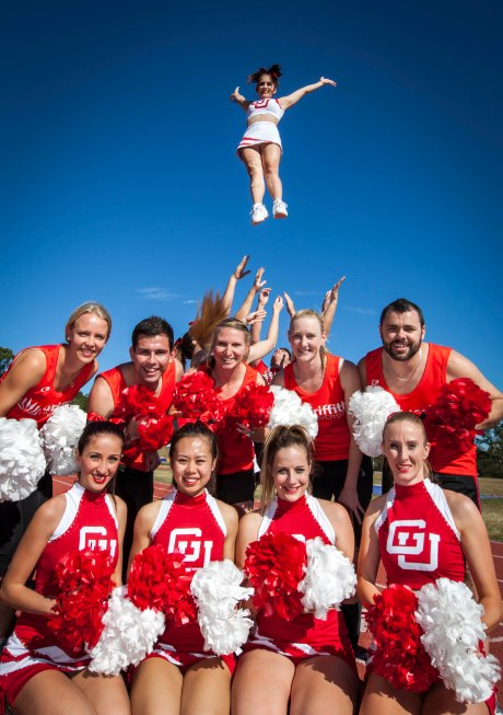 The Griffith Uni Cheer team hard at training for SUG (photo: Rix Ryan Photography)