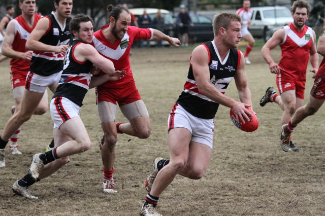 Park Orchards drives forward while shepparding Warrandyte out (photo: Davis Harrigan)