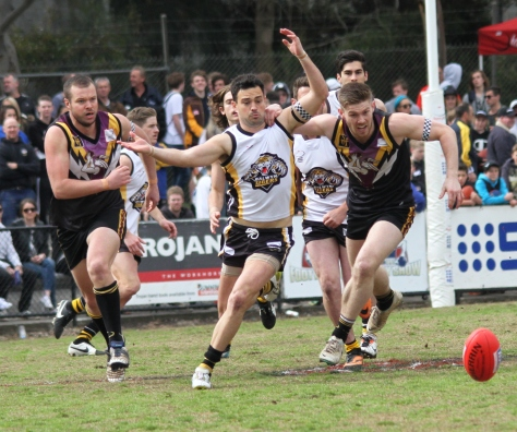Norwood players fend off a Balwyn attack at Bayswater (photo: Davis Harrigan)