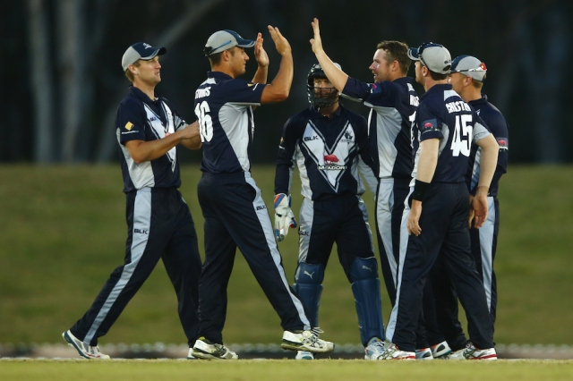 Victoria celebrate a wicket at Blacktown (photo: Getty Images)