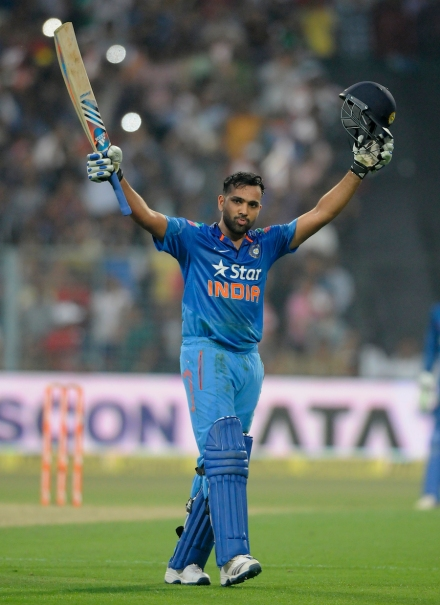 Rohit Sharma celebrates 200 runs (photo: Getty Images)
