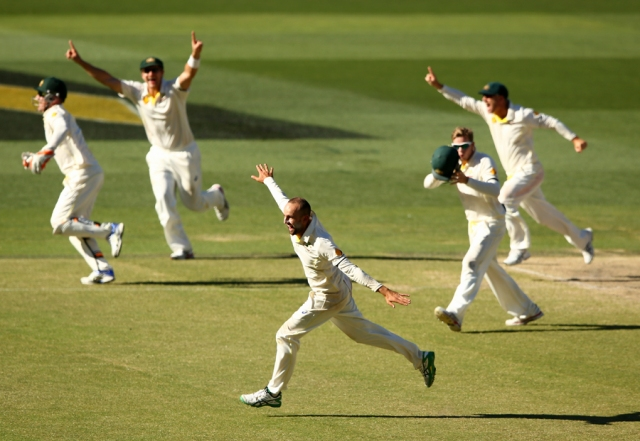 Nathan Lyon celebrates the winning moment in Adelaide (photo: Getty Images)