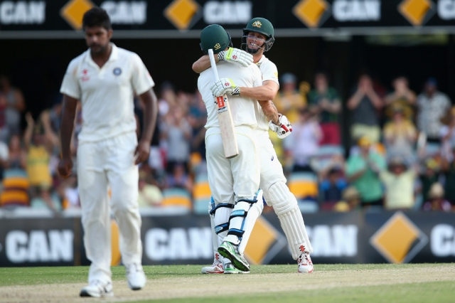 Says it all: Mitchell's Marsh and Johnson celebrate a win, as India look away (photo: Getty Images)