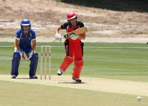 Skipper Lauren Ebsary hits down the ground v ACT (photo: Davis Harrigan)