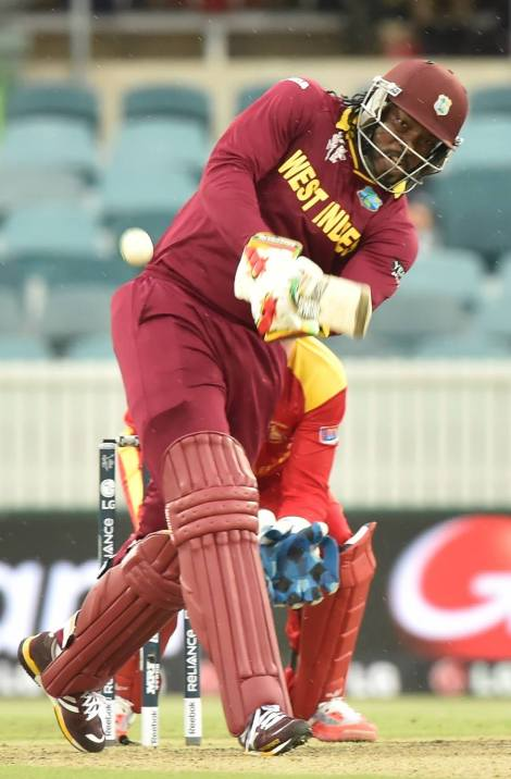 Chris Gayle goes down the track (photo: ICC)