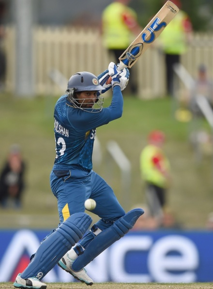 Tilakaratne Dilshan plays away on the off side (picture: AFP)