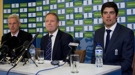 Peter Moores, Paul Downton and Alastair Cook say it all (photo: Getty Images)
