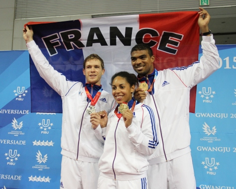 France's three fencing medal winners (photo: Davis Harrigan)