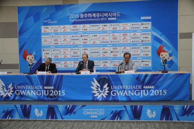 FISU and Gwangju OC delegates at Thursday's press conference (photo: Davis Harrigan)
