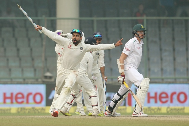 Indian skipper Virat Kohli celebrates the win during day five of the 4th Paytm Freedom Trophy Series Test match between India and South Africa held at the Feroz Shah Kotla Stadium in Delhi. Photo by Ron Gaunt / BCCI / SPORTZPICS