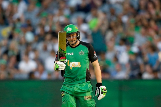 MELBOURNE, AUSTRALIA - JANUARY 21: Luke Wright of the Melbourne Stars raises his bat after scoring 50 runs during the Big Bash League match between the Melbourne Stars and the Sydney Sixers at Melbourne Cricket Ground on January 21, 2017 in Melbourne, Australia. (Photo by Darrian Traynor/Getty Images)